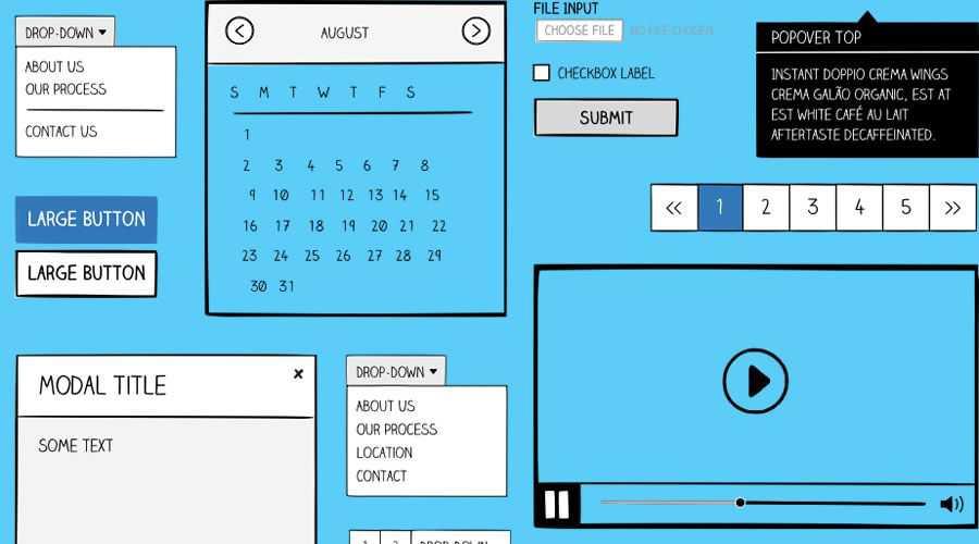 Sketchframes Boostrap UI free wireframe template Sketch Format
