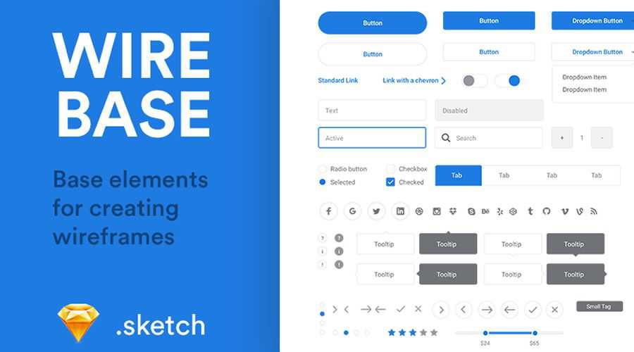 Wirebase Base Elements free wireframe template Sketch Format