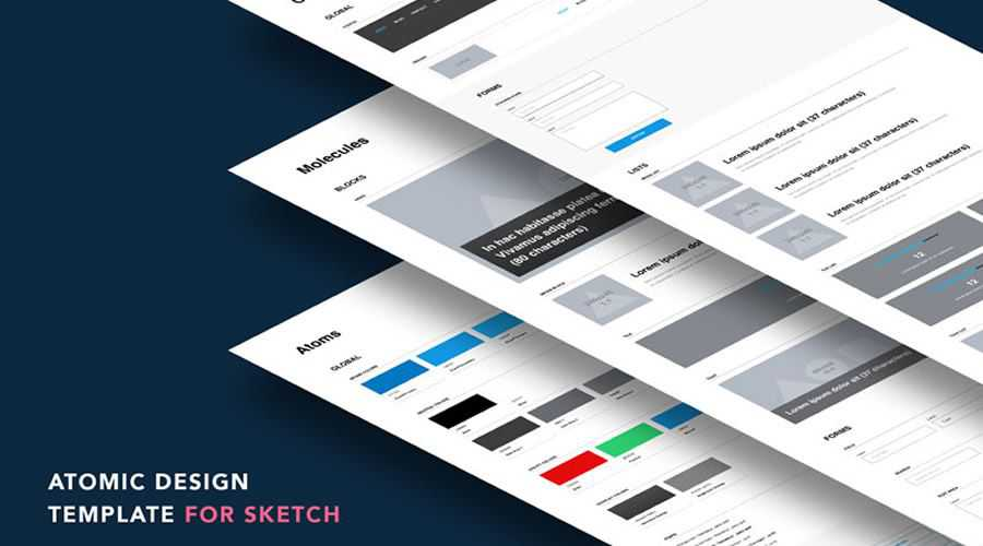 Atomic Design free wireframe template Sketch Format