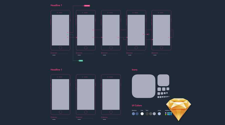 Mobile Diagram free wireframe template Sketch Format