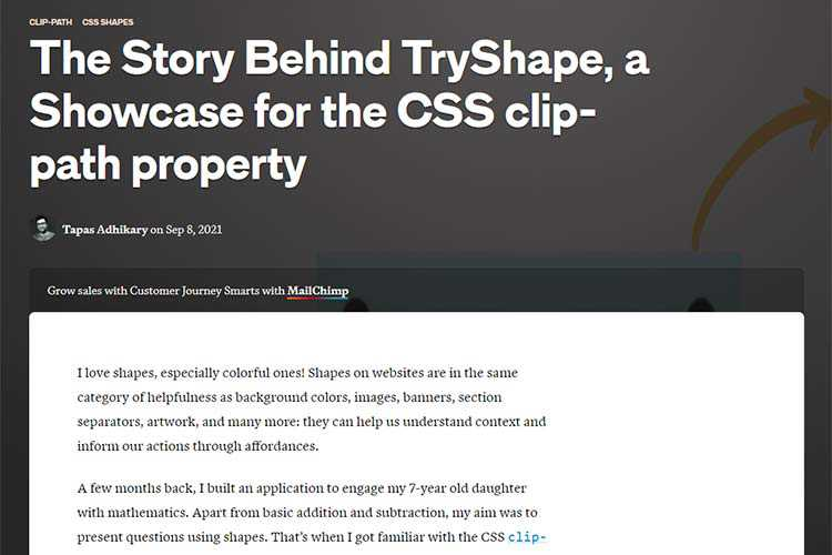 Example from The Story Behind TryShape, a Showcase for the CSS clip-path property