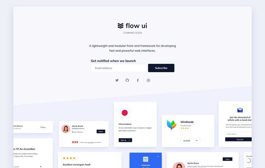 Flow UI that comes with quick web design inspiration page