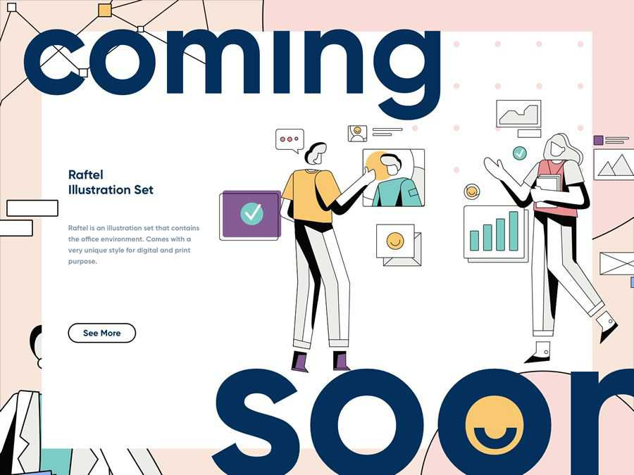 Coming to Raftel Soon Illustration inspired web page design