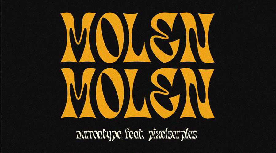 Molen Free Display quirky creative font family typeface