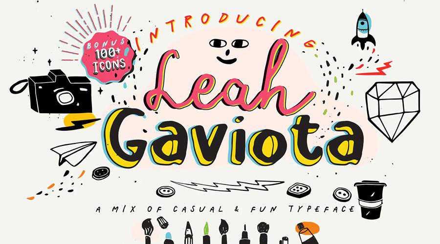 Leah Gaviota quirky creative font family typeface