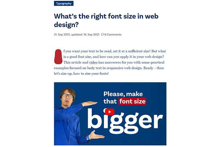 Example from What is the correct font size in web design?