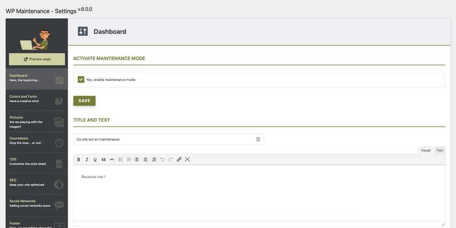 WP Maintenance WordPress Plugin